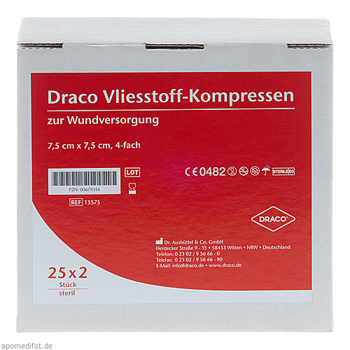 VLIESSTOFFKOMPRESSEN 7.5x7.5CM STERIL 4FACH, 25X2 ST, Dr. Ausbüttel & Co. GmbH