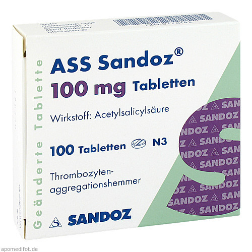 ASS Sandoz 100 mg Tabletten, 100 ST, Hexal AG