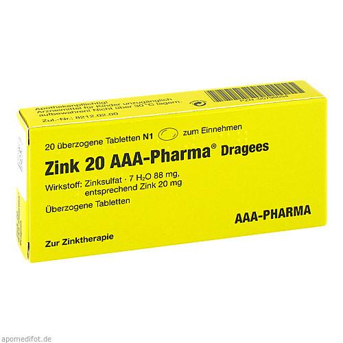 Zink 20 AAA-Pharma Dragees, 20 ST, Aaa - Pharma GmbH