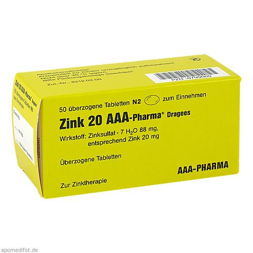 Zink 20 AAA-Pharma Dragees, 50 ST, Aaa - Pharma GmbH