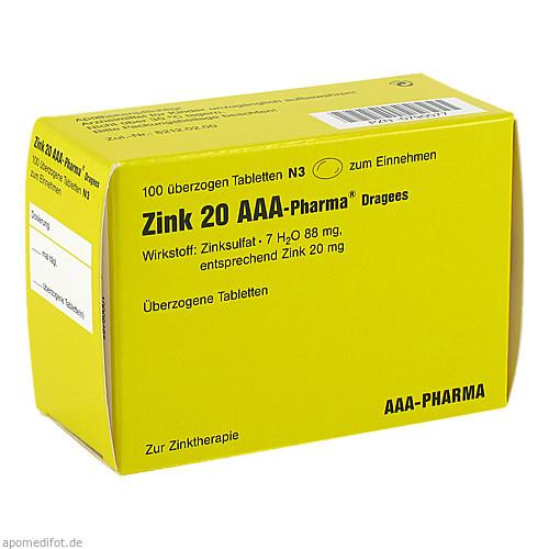 Zink 20 AAA-Pharma Dragees, 100 ST, Aaa - Pharma GmbH