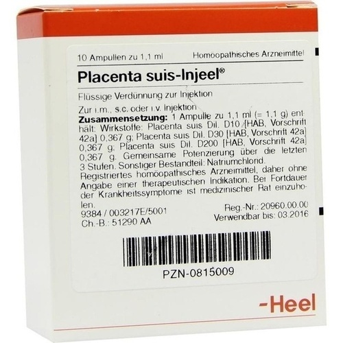 PLACENTA SUIS INJ ORG, 10 ST, Biologische Heilmittel Heel GmbH