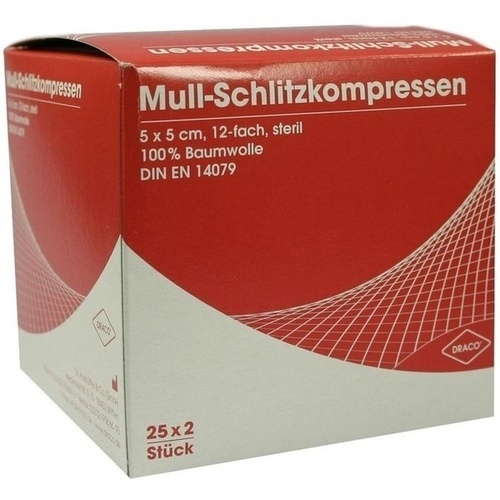 SCHLITZKOMPRESSE Mull 5x5cm 12fach steril Ausb, 25X2 ST, Dr. Ausbüttel & Co. GmbH