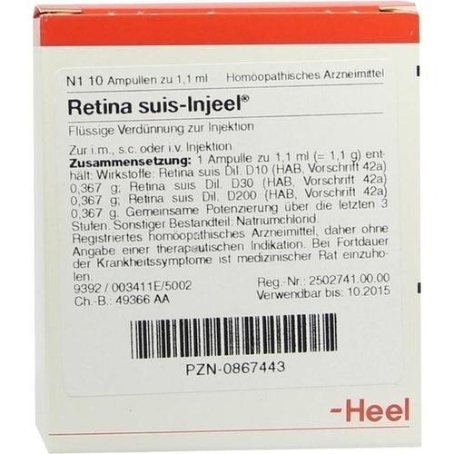 RETINA SUIS INJ ORG, 10 ST, Biologische Heilmittel Heel GmbH