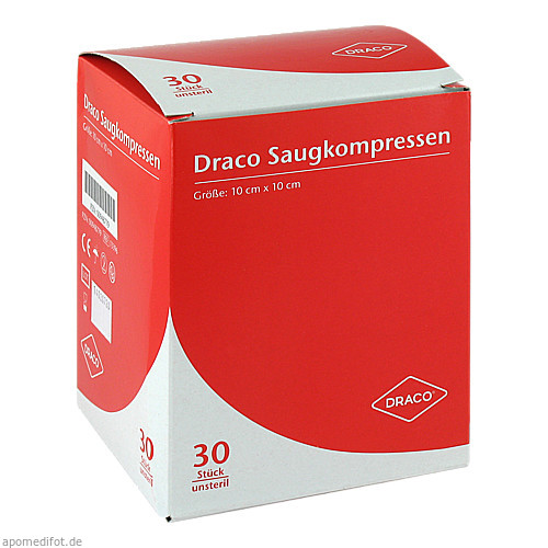 Saugkompressen unsteril 10x10cm Draco, 30 ST, Dr. Ausbüttel & Co. GmbH