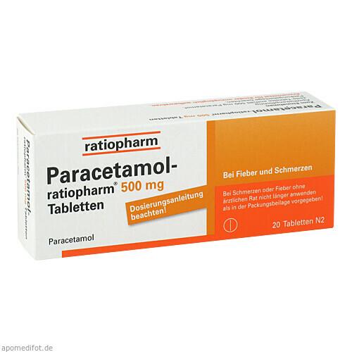 Paracetamol-ratiopharm 500mg Tabletten, 20 ST, ratiopharm GmbH