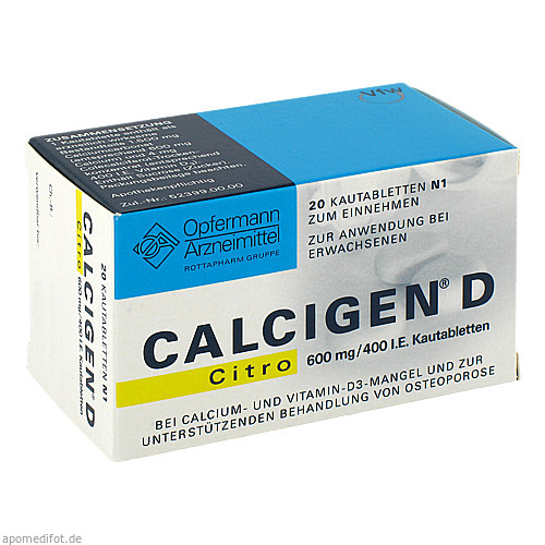 CALCIGEN D Citro 600 mg/400 I.E. Kautabletten, 20 ST, MEDA Pharma GmbH & Co.KG