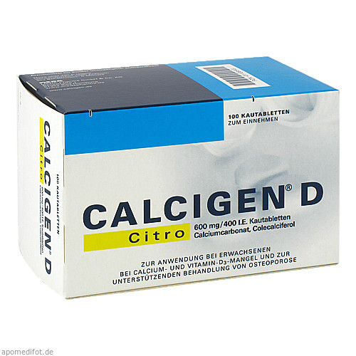 CALCIGEN D Citro 600 mg/400 I.E. Kautabletten, 100 ST, Meda Pharma GmbH & Co. KG