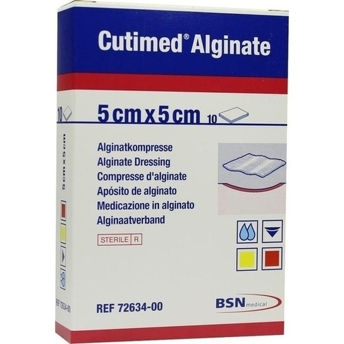 Cutimed Alginate 5x5cm Alginatkompresse, 10 ST, Bsn Medical GmbH