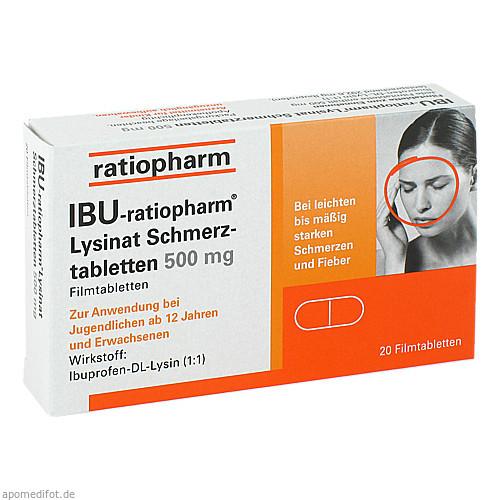 IBU-ratiopharm Lysinat Schmerztabletten 500mg, 20 ST, ratiopharm GmbH