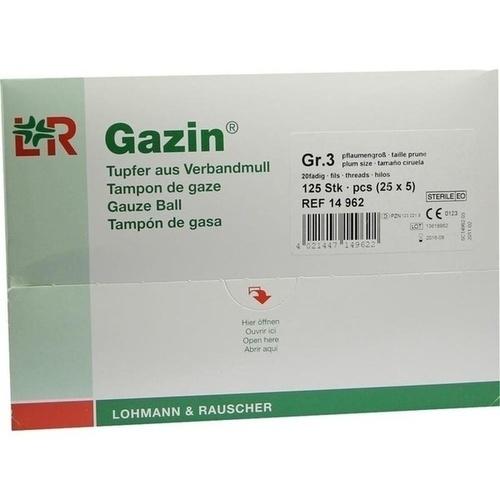 Gazin Schlinggazetupfer pflaume2+3 steril m.Schutz, 125 ST, Lohmann & Rauscher GmbH & Co. KG