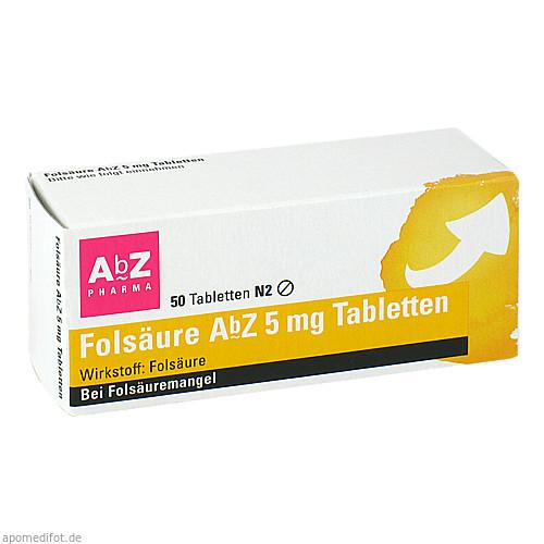 Folsäure AbZ 5mg Tabletten, 50 ST, Abz Pharma GmbH