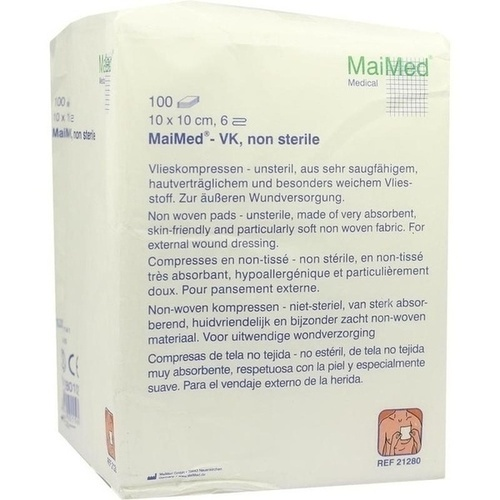 Vlieskompressen 10x10cm 6-fach unsteril, 100 ST, Maimed GmbH -Bereich Vertrieb-