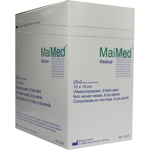 Vlieskompressen 10x10cm 6-fach steril, 25X2 ST, Maimed GmbH -Bereich Vertrieb-