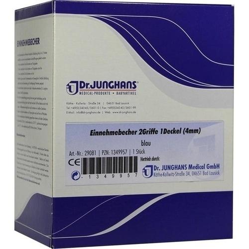 Einnehmebecher 2Griffe+Deckel 4mm blau, 1 ST, Dr. Junghans Medical GmbH