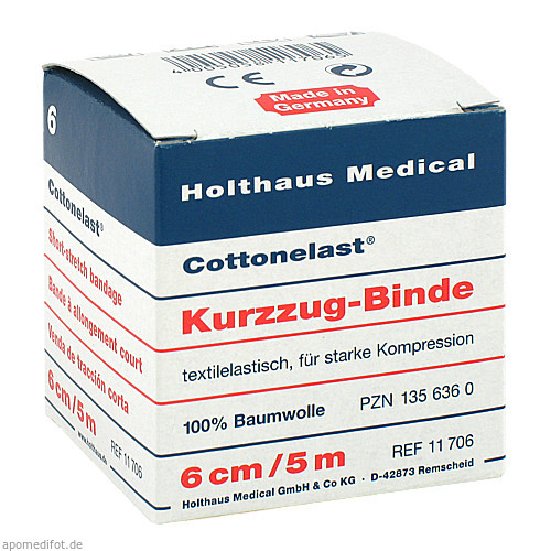 Kurzzugbinde Cottonelast 6cmx5m, 1 ST, Holthaus Medical GmbH & Co. KG