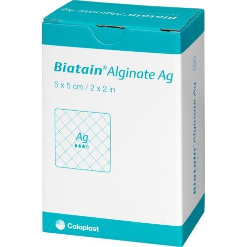 Biatain Alginate Ag Kompressen 5x5cm mit Silber, 30 ST, Coloplast GmbH