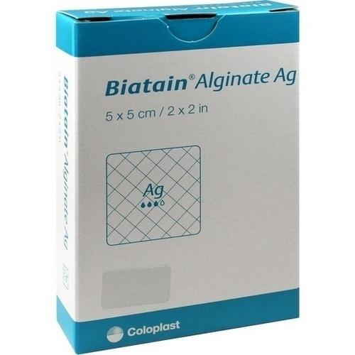 Biatain Alginate Ag Kompressen 5x5cm mit Silber, 10 ST, Coloplast GmbH