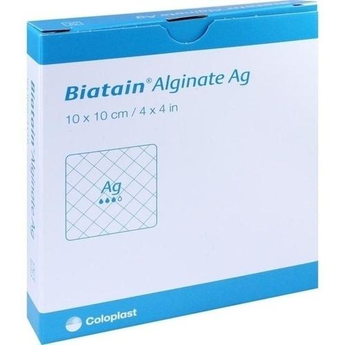 Biatain Alginate Ag Kompressen 10x10cm mit Silber, 10 ST, Coloplast GmbH