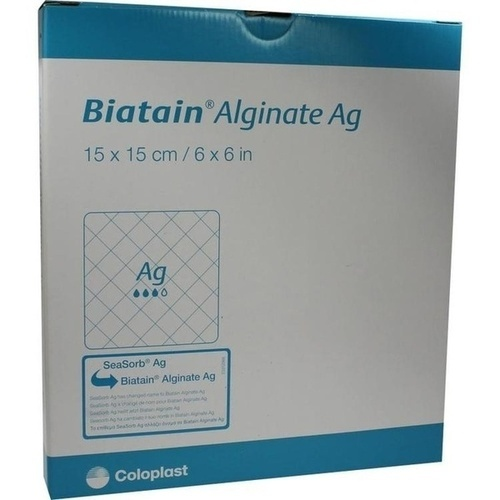 Biatain Alginate Ag Kompressen 15x15cm mit Silber, 10 ST, Coloplast GmbH