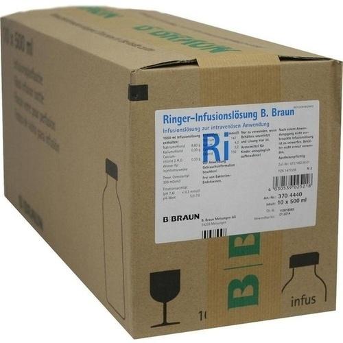 RINGER LÖSUNG B.Braun Glas Infusionslösung, 10X500 ML, B. Braun Melsungen AG