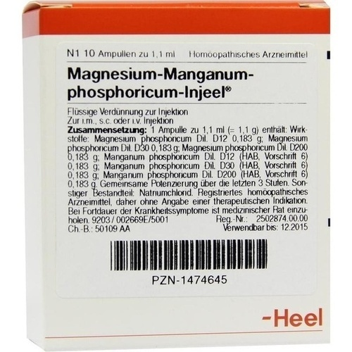 MAGNESIUM MA PHOS INJ, 10 ST, Biologische Heilmittel Heel GmbH