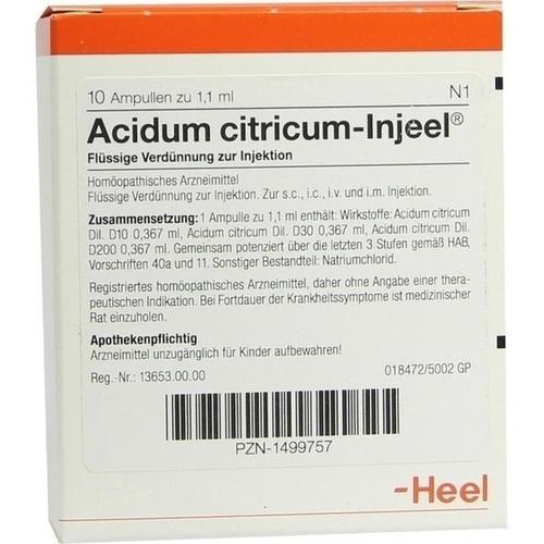 ACIDUM CITRICUM INJ, 10 ST, Biologische Heilmittel Heel GmbH