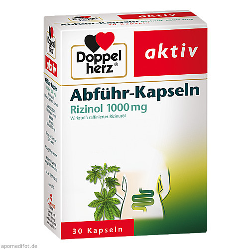 Doppelherz Abführ-Kapseln Rizinol 1000mg, 30 ST, Queisser Pharma GmbH & Co. KG