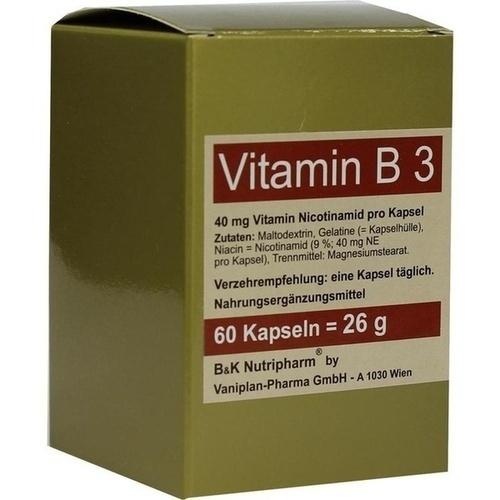 VITAMIN B3 Kapseln, 60 ST, B&K Nutripharm GmbH