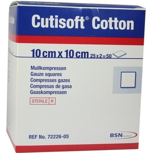 Cutisoft Cotton Kompressen 10x10cm steril, 25X2 ST, Bsn Medical GmbH