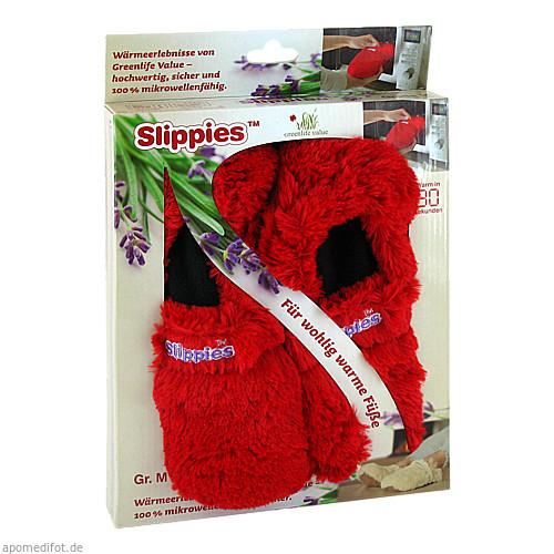 Wärme-Pantoffel Slippies Deluxe rot plüsch Gr. M, 2 ST, Greenlife Value GmbH