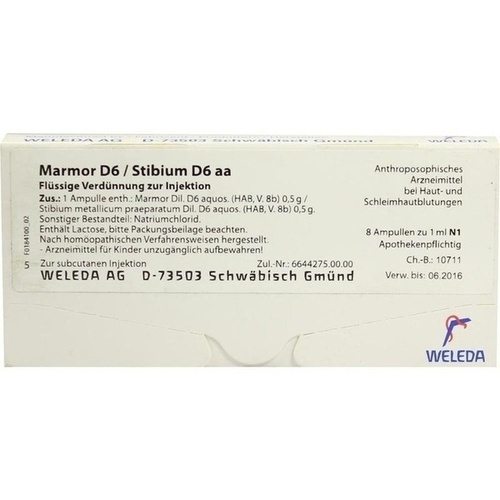 MARMOR D 6 STIB D 6 AA, 8X1 ML, Weleda AG