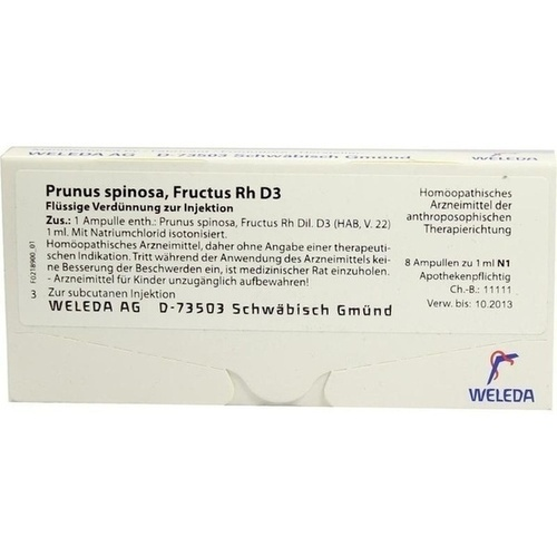 PRUNUS SPINOS FRUCT RH D 3, 8X1 ML, Weleda AG