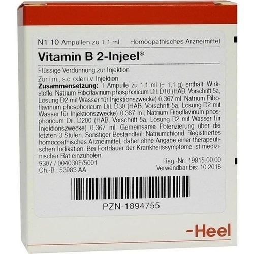 VITAMIN B 2 INJ HOM ALL, 10 ST, Biologische Heilmittel Heel GmbH