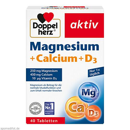 Doppelherz Magnesium + Calcium + D3, 40 ST, Queisser Pharma GmbH & Co. KG