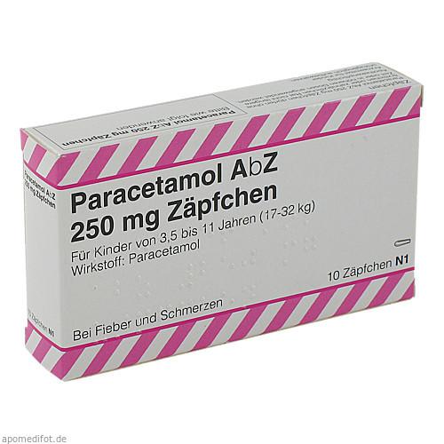 Paracetamol AbZ 250mg Zäpfchen, 10 ST, Abz Pharma GmbH