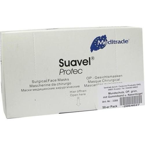 Mundschutz OP grün m. Gummibändern mit Nasenbügel, 50 ST, Careliv Produkte Ohg