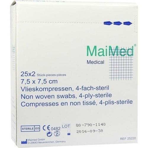 Vlieskompressen 7.5x7.5 4-fach steril, 25X2 ST, Maimed GmbH