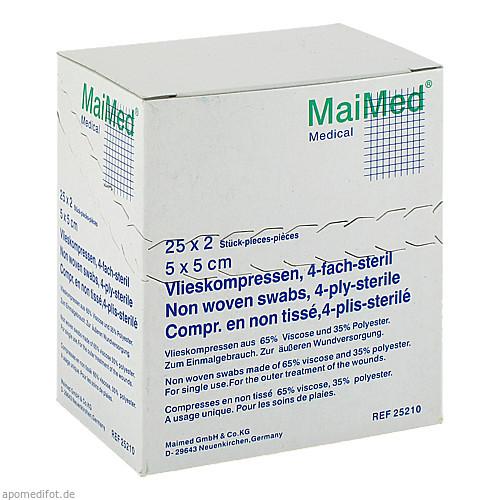 Vlieskompressen 5x5 4-fach steril, 25X2 ST, Maimed GmbH