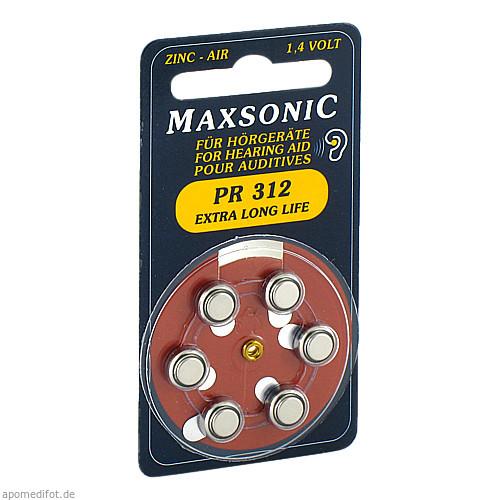 Batterie für Hörgeräte MAXSONIC PR 312, 6 ST, Vielstedter Elektronik
