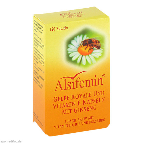 ALSIFEMIN Gelee Royale u. Vit. E. Kaps. m. Ginseng, 120 ST, Alsitan GmbH