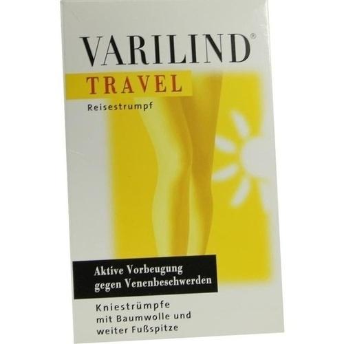 VARILIND TRAVEL Knie Baumwolle blau M, 2 ST, Paracelsia Pharma GmbH