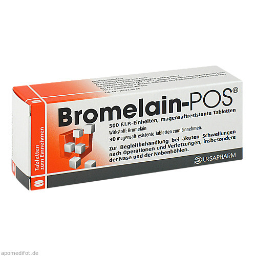 BROMELAIN POS magensaftresistente Tabletten, 30 ST, URSAPHARM Arzneimittel GmbH