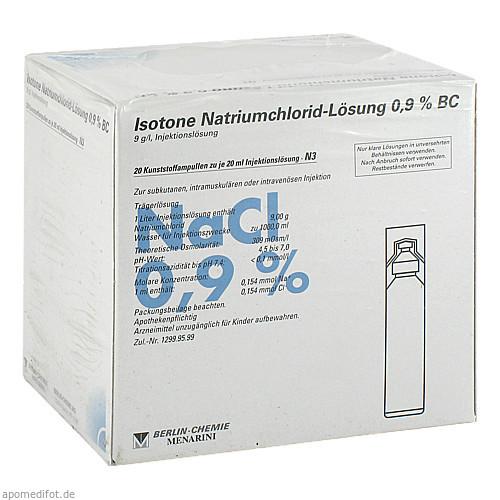 Isotone NaCl Lösung 0.9% BC Plast, 20X20 ML, Berlin-Chemie AG