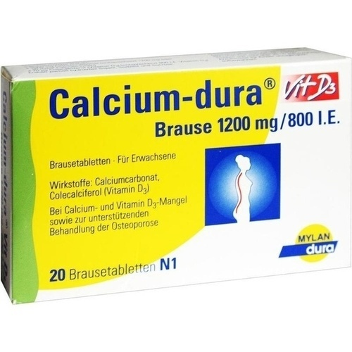 Calcium-dura Vit D3 Brause 1200mg/800 I.E., 20 ST, Mylan dura GmbH