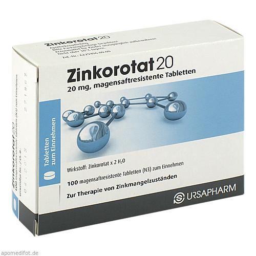 ZINKOROTAT 20 magensaftresistente Tabletten, 100 ST, Ursapharm Arzneimittel GmbH