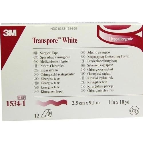Transpore White 2.5cmX9.1m Rollenpflaster, 12 ST, 3M Medica Zweigniederlassung der 3M Deutschland GmbH