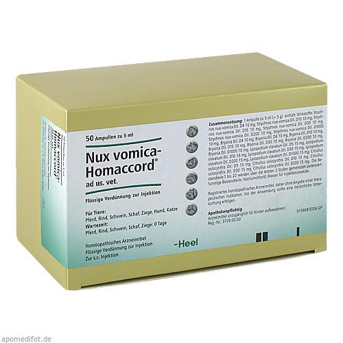 NUX VOMICA HOMACCORD ad us.vet.Ampullen, 50 ST, Biologische Heilmittel Heel GmbH