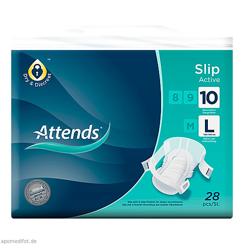 Attends Slip Active 10 Large, 28 ST, Attends GmbH