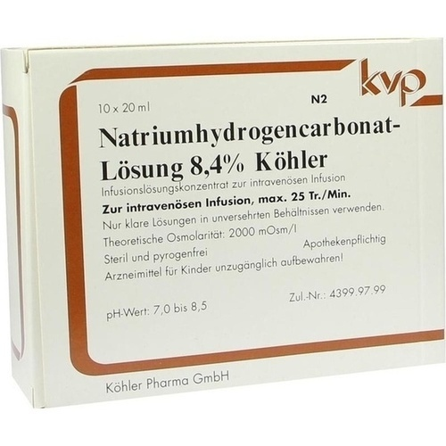 Natriumhydrogencarbonat-Lösung 8.4% Köhler, 10X20 ML, Köhler Pharma GmbH